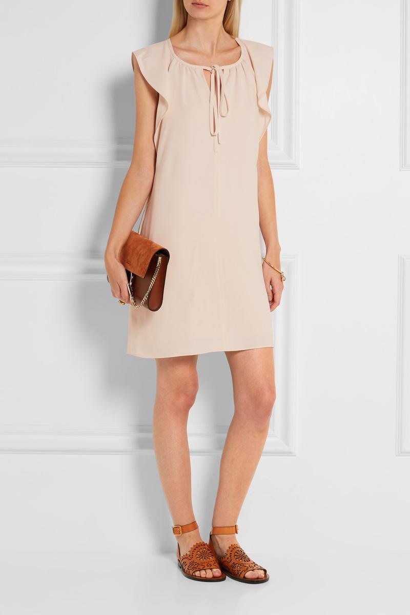 Chloe Flutter Sleeve Cady Mini Dress