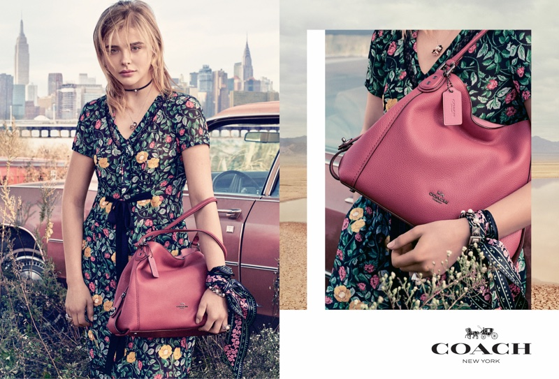 Actress Chloe Grace Moretz wears bold florals in Coach's spring 2017 campaign