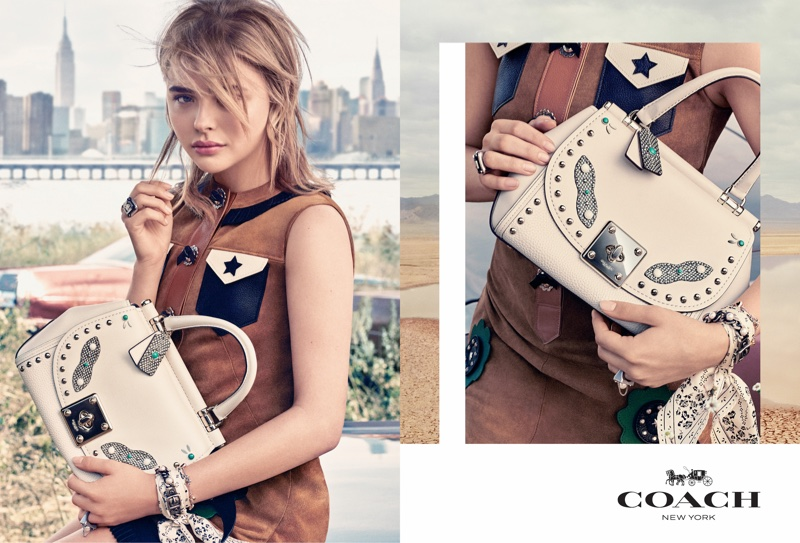 Chloe Grace Moretz models western inspired style in Coach's spring 2017 campaign