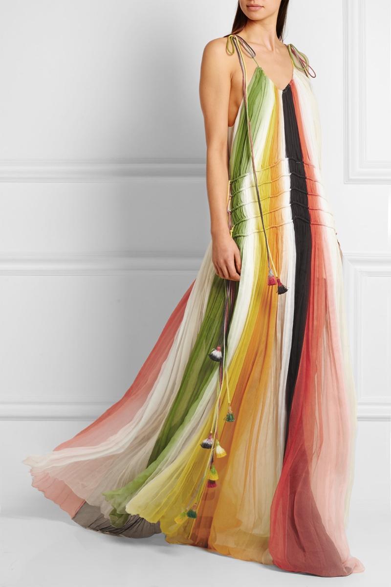 Chloe Tasseled Striped Silk Crepon Gown