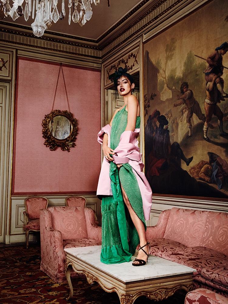 Cindy Kimberly models Stella McCartney dress, Miu Miu jacket and Jimmy Choo heels