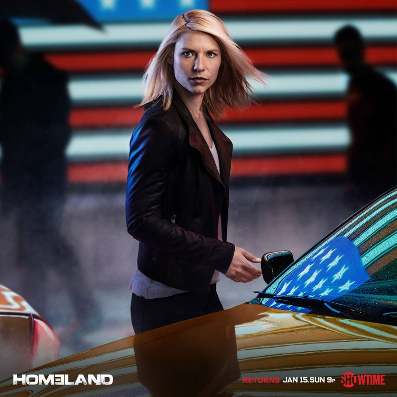 Claire Danes wears leather jacket in Homeland season 6 promotional image
