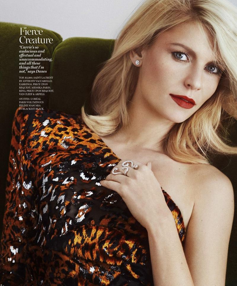 Getting her closeup, Claire Danes wears Saint Laurent top, Messika earrings and Van Cleef & Arpels ring