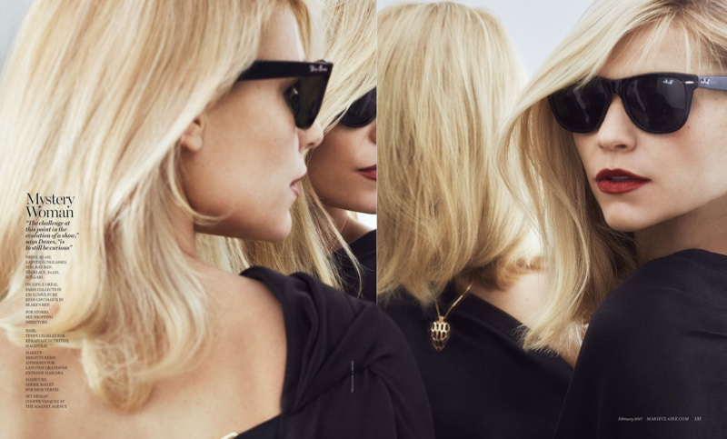 Looking in the mirror, Claire Danes wears Lanvin dress, Bulgari necklace and Ray-Ban sunglasses