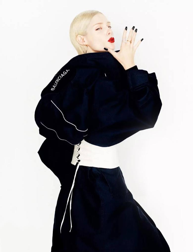 Model Coco Rocha wears Balenciaga coat