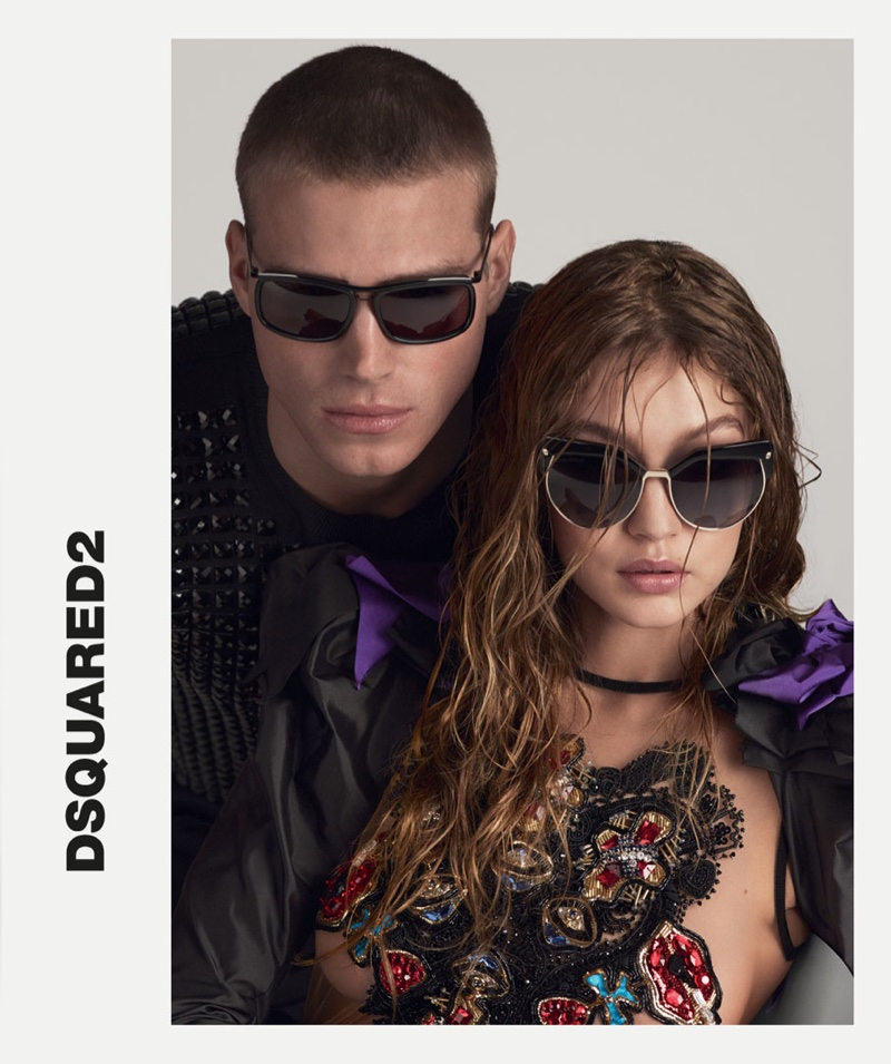 Matthew Noszka and Gigi Hadid appear in DSquared2's spring 2017 eyewear campaign