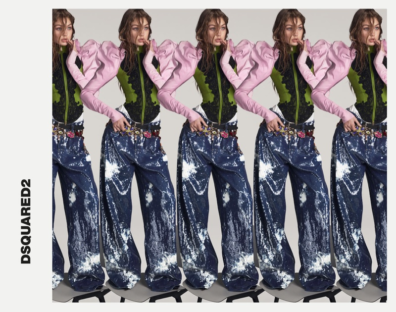 Starring in a colorful collage, Gigi Hadid appears in DSquared2's spring 2017 campaign