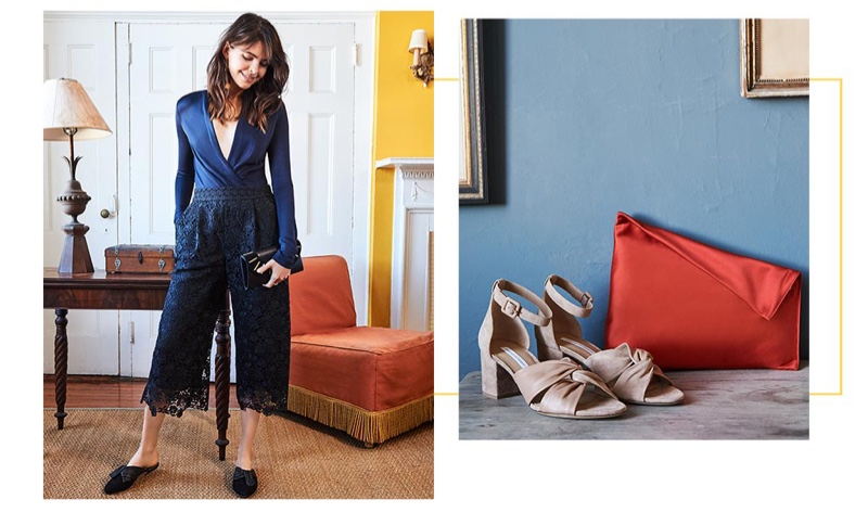 (Left) Diane von Furstenberg Lala Bodysuit, Holly Lace Pants and Leather & Suede Bar Stud Envelope Clutch and Doha Knot Mules (Right) Diane von Furstenberg Pasadena City Sandals and Satin Clutch