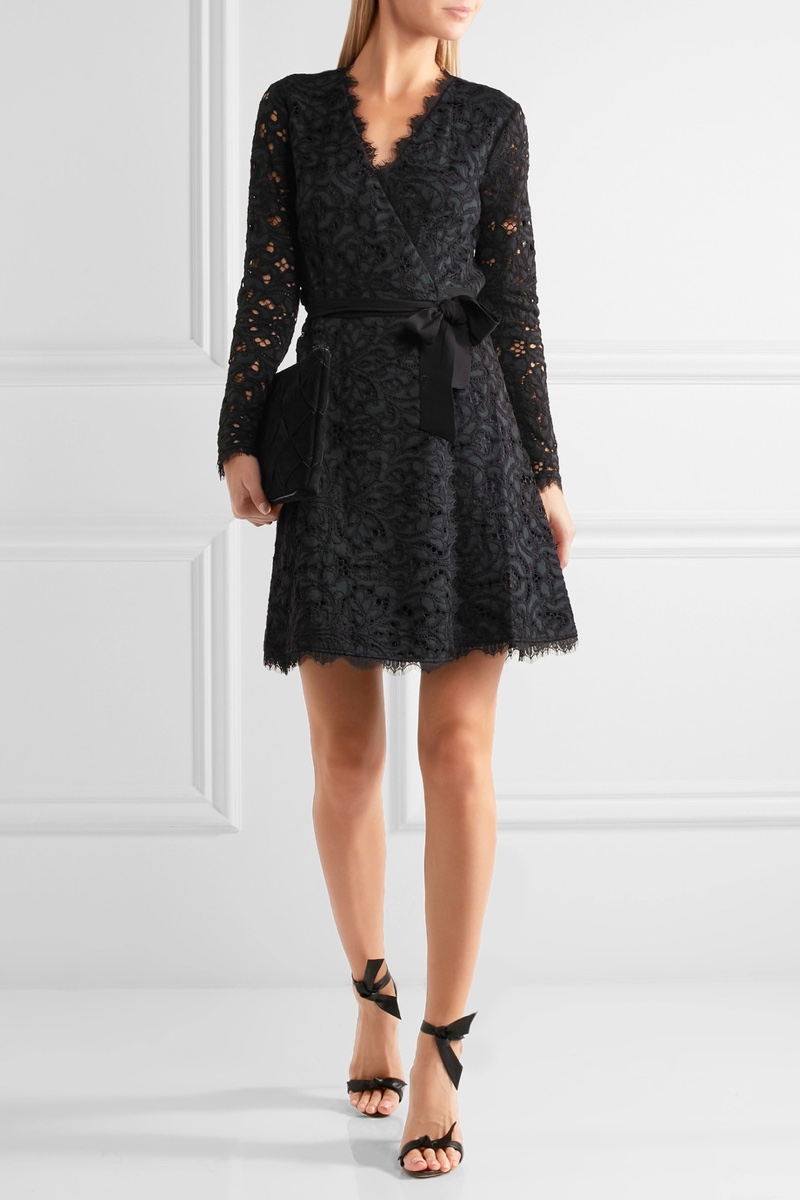Diane von Furstenberg Shaelyn Corded Lace Wrap Mini Dress