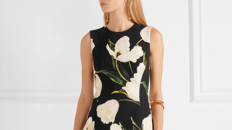 Dolce & Gabbana Floral Print Wool Crepe Mini Dress