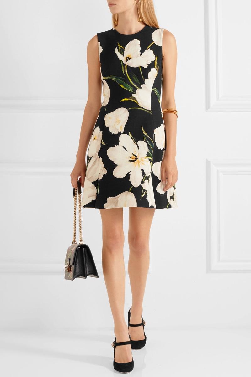 Dolce & Gabbana Floral Print Wool Crepe Mini Dress