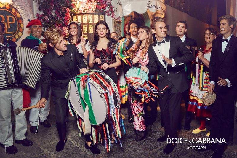 Sonia Ben Ammar, Thylane Blondeau, Cameron Dallas, Brandon Thomas Lee, Presley Gerber, Luka Sabbat, Rafferty Law pose in Dolce & Gabbana's spring 2017 campaign