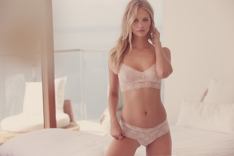 Photographed by Dove Shore, Marloes Horst wears Eberjey Zelia Crisscross Longline Bralet and Culotte