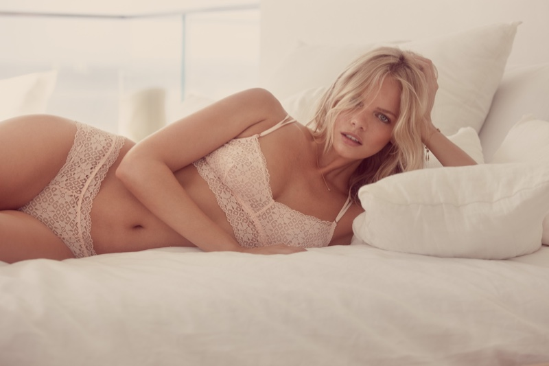 Lounging in bed, Marloes Horst poses for Eberjey's pre-spring 2017 campaign
