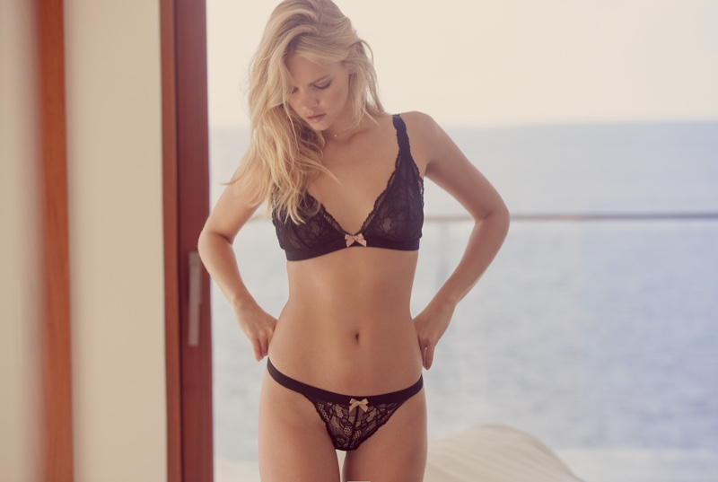 Model Marloes Horst wears Eberjey lace bra and panty set