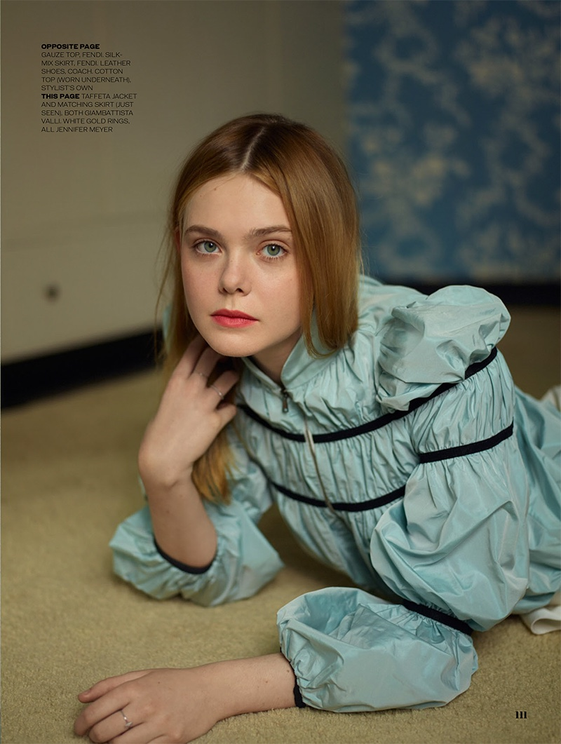 Elle Fanning models Giambattista Valli taffeta jacket and Jennifer Meyer rings
