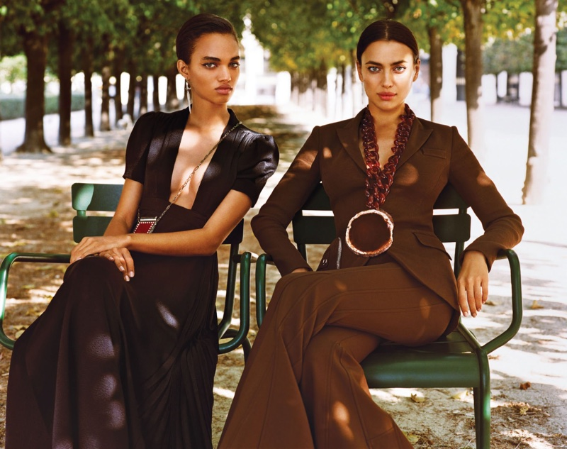 Ellen Rosa models Valentino dress, earrings and bag. Irina Shayk suits up in Givenchy jacket, trousers and necklace.