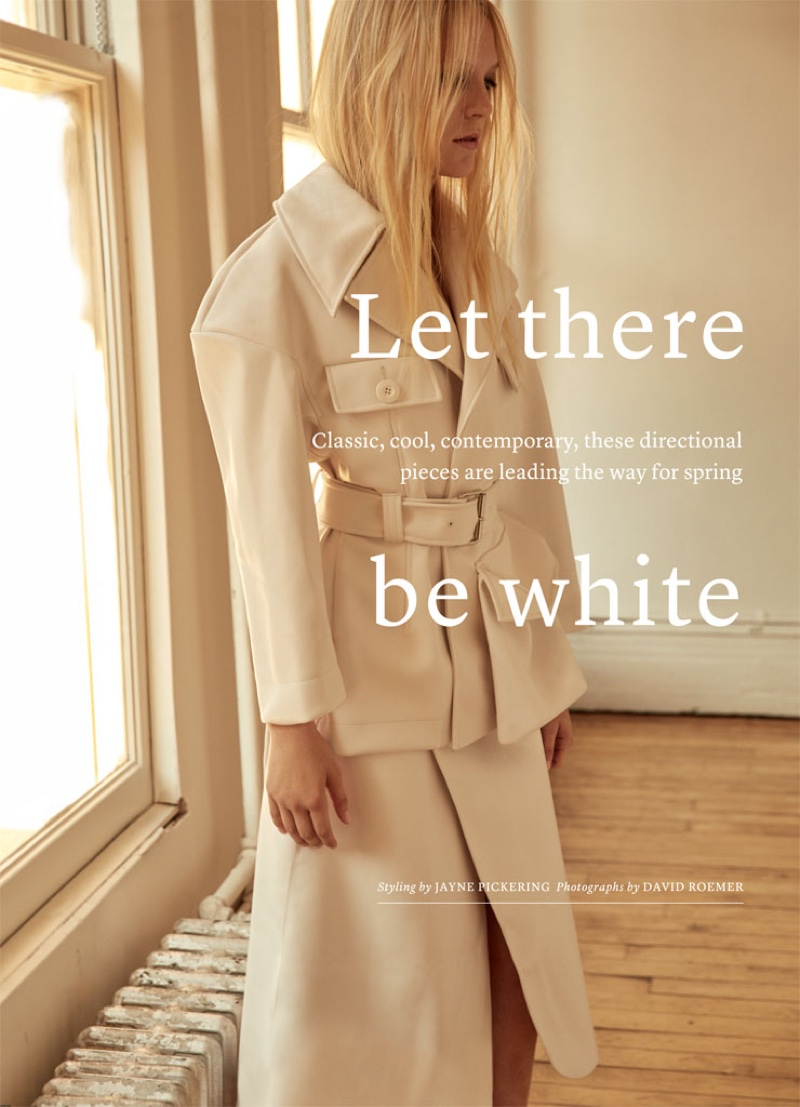 Photographed by David Roemer, the model wears all white looks