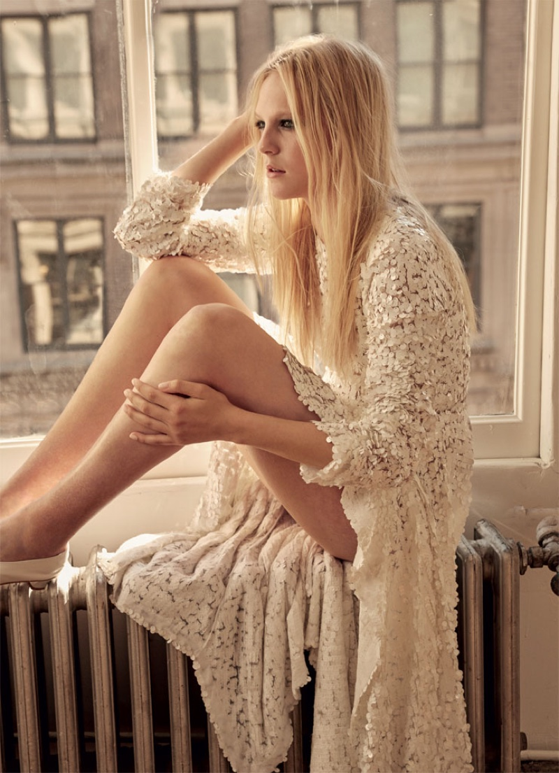 Emilie Evander models embellished paillette dress by Thornton Bregazzi
