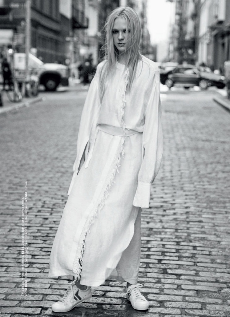 Emilie Evander Poses in in All White Fashions for Marie Claire UK