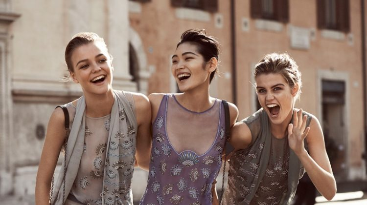 Roos Abels, Chiharu Okunugi and Luna Bijl are all smiles in embellished looks for Emporio Armani's spring 2017 campaign