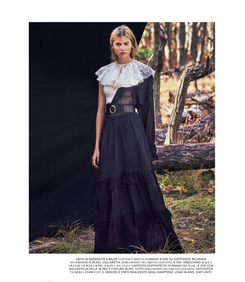 Model Estee Rammant poses in Twinset dress with Philosophy di Lorenzo Serafini lace collar