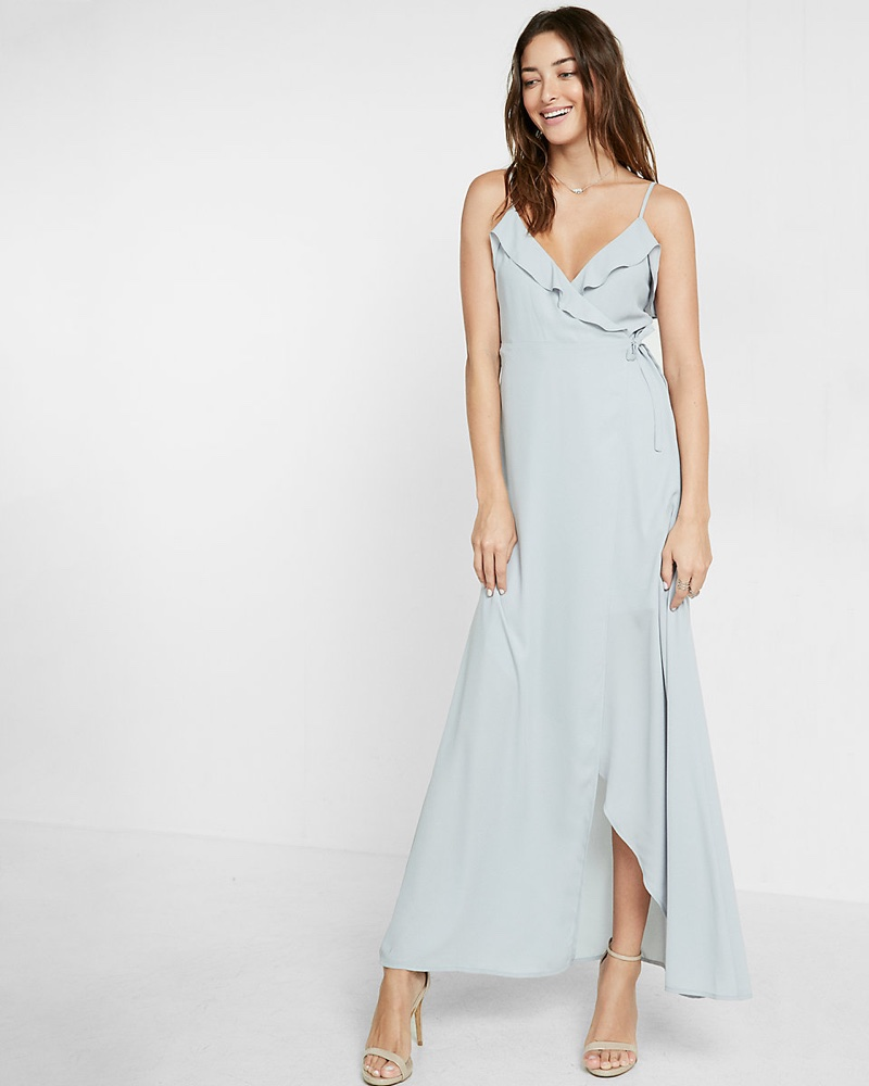 4eace059e2 Express Ruffle Wrap Front Maxi Dress Shop | Fashion Gone Rogue