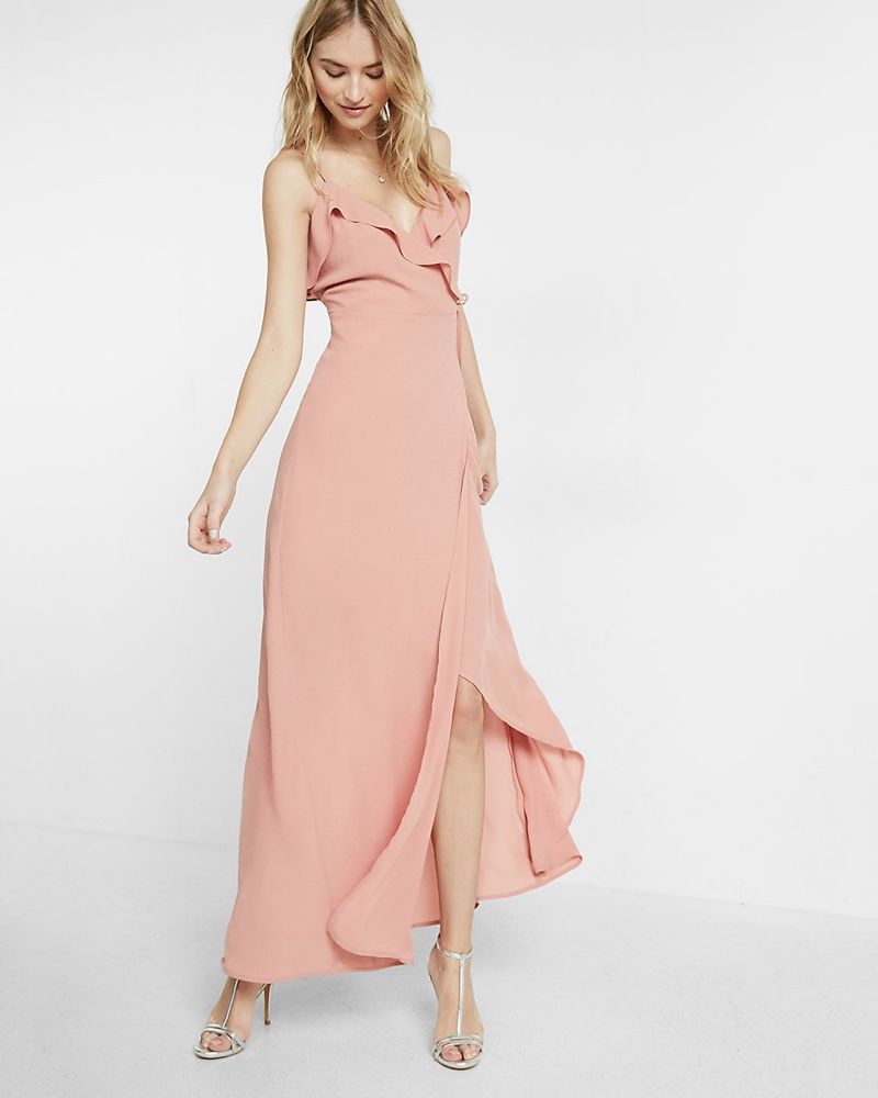 The dress express -  Look Pretty In Pink With The Ruffle Wrap Front Maxi Dress From Express