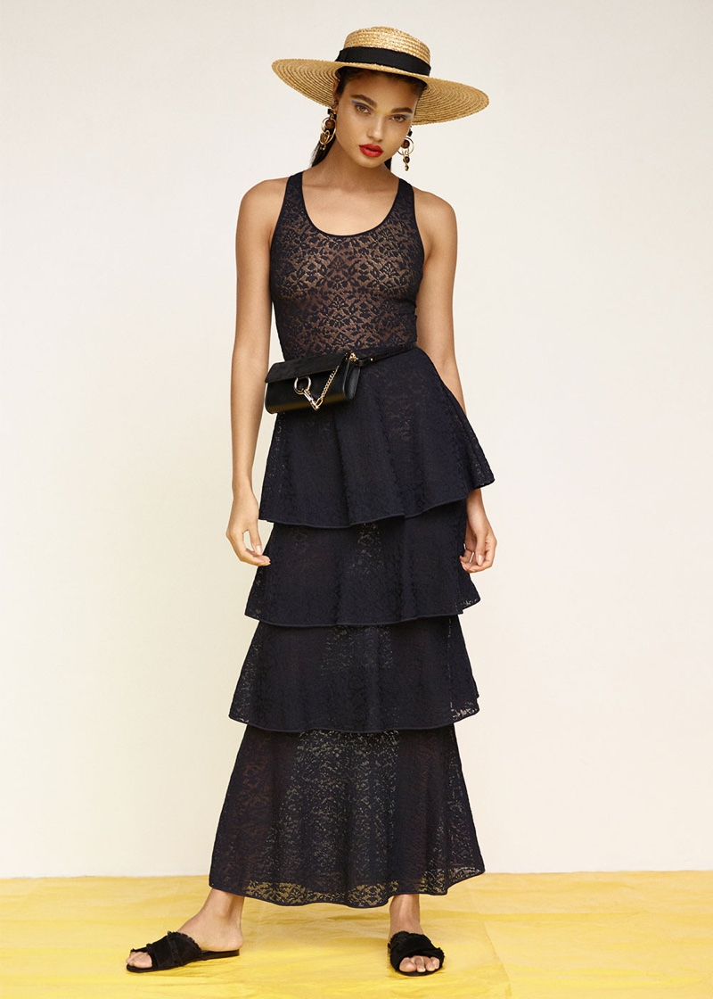 Stella McCartney Tiered Sleeveless Dress, Gianvito Rossi Suede & Satin Flat Sandals, Chloe Leather Faye Strap Wallet and Eugenia Kim June Hat