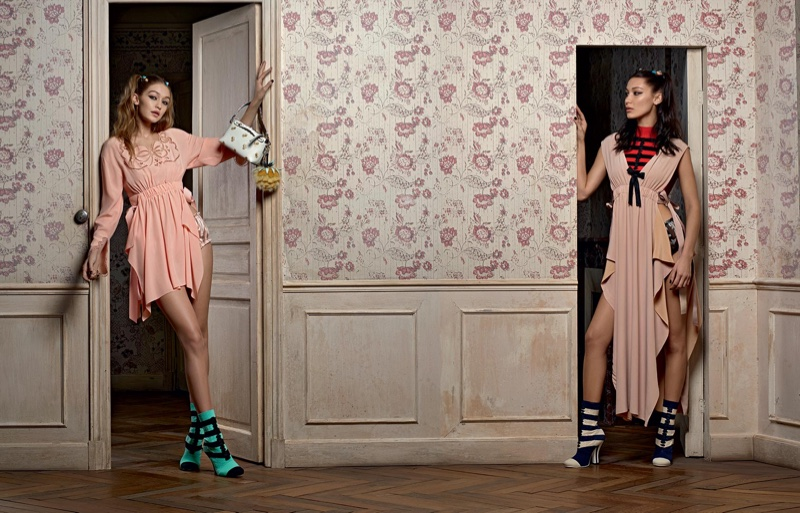 Sisters Gigi and Bella Hadid look pretty in pink for Fendi's spring 2017 campaign
