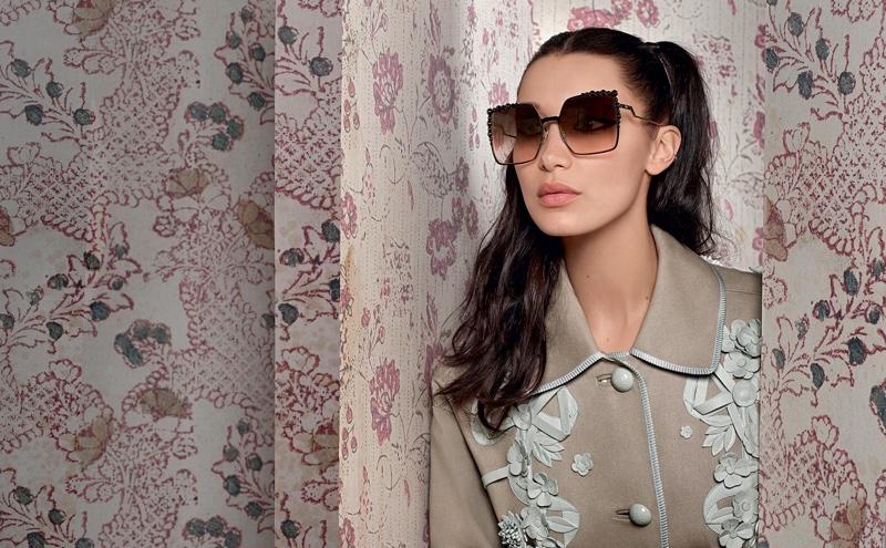 Bella Hadid poses in Paris for Fendi eyewear spring 2017 campaign