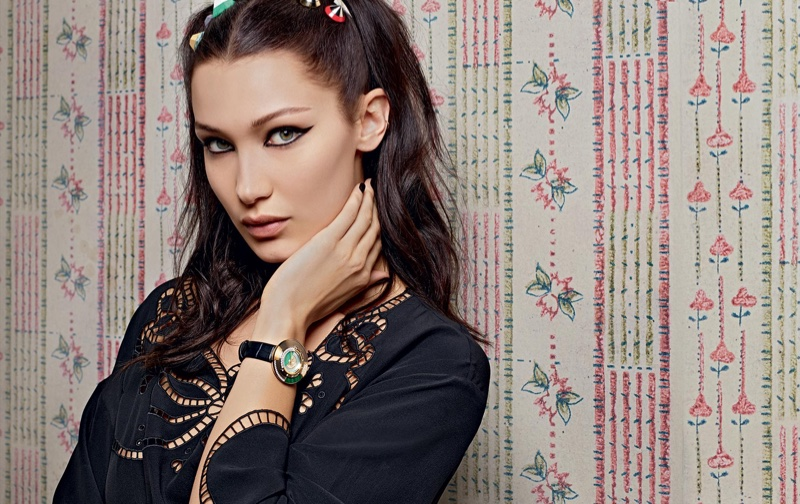 Bella Hadid wears embroidered shirt and watch in Fendi's spring 2017 campaign