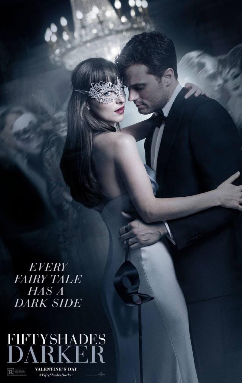 Dakota Johnson and Jamie Dornan on Fifty Shades Darker movie poster