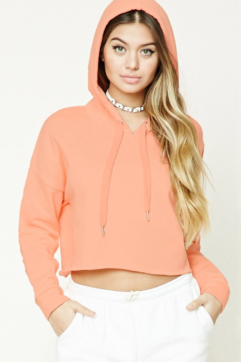 Forever 21 Cropped Raw Cut Hoodie
