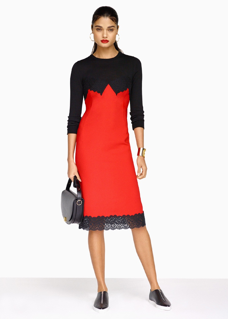 Altuzarra Debbie Dress, Stella McCartney Zip Loafers, Victoria Beckham Half Moon Box Bag, Maria Black Orion Maxi Hoop Earrings and Givenchy Geometric Round Bracelet