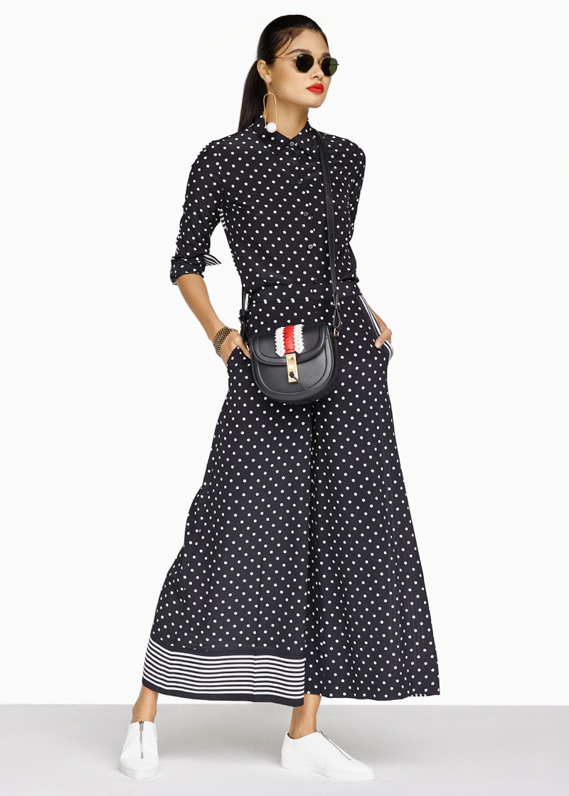 Stella McCartney Silk Polka Dot Blouse, Silk Polka Dot Trousers, Stella McCartney Zip Loafers, Altuzarra Ghianda Saddle Mini Embroidered, Stella McCartney Brass Single Earring, Ray-Ban Hexagon Sunglasses and Lanvin Choker Necklace