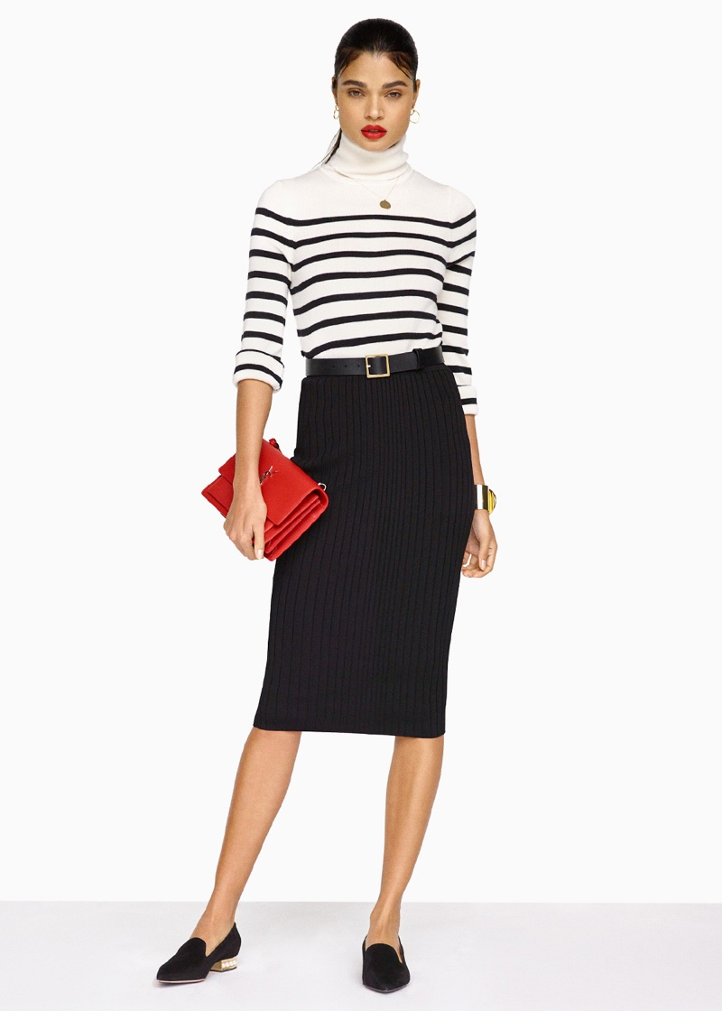 Equipment Wilder Sweater, Cushnie et Ochs Crisscross Waistband Pencil Skirt, Nicholas Kirkwood Suede Casati Pearl Loafers, Saint Laurent Sunset Medium Monogramme Chain Bag, Frame Denim Classic Square Belt and Givenchy Geometric Round Bracelet