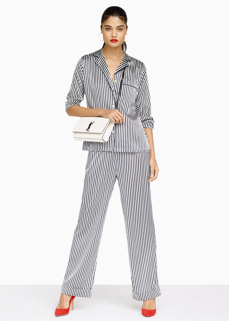 Yolke Stripes Classic Set, Gianvito Rossi Suede Gianvito 85 Pumps, Saint Laurent Kate Medium Monogramme Chain Bag and Maria Black Orion Maxi Hoop Earrings