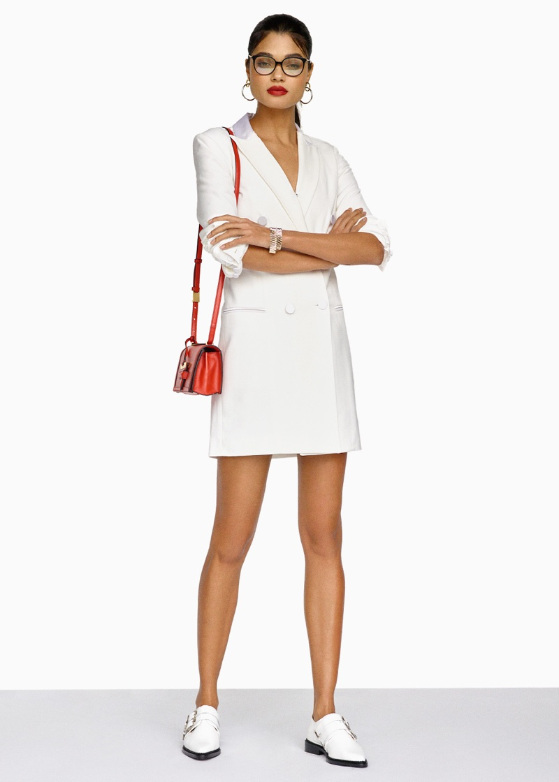 Veronica Beard Carlyle Blazer Dress, Toga Pulla Leather Oxfords, Loewe Barcelona Small Bag and Victoria Beckham Fine Oval Kitten Optical