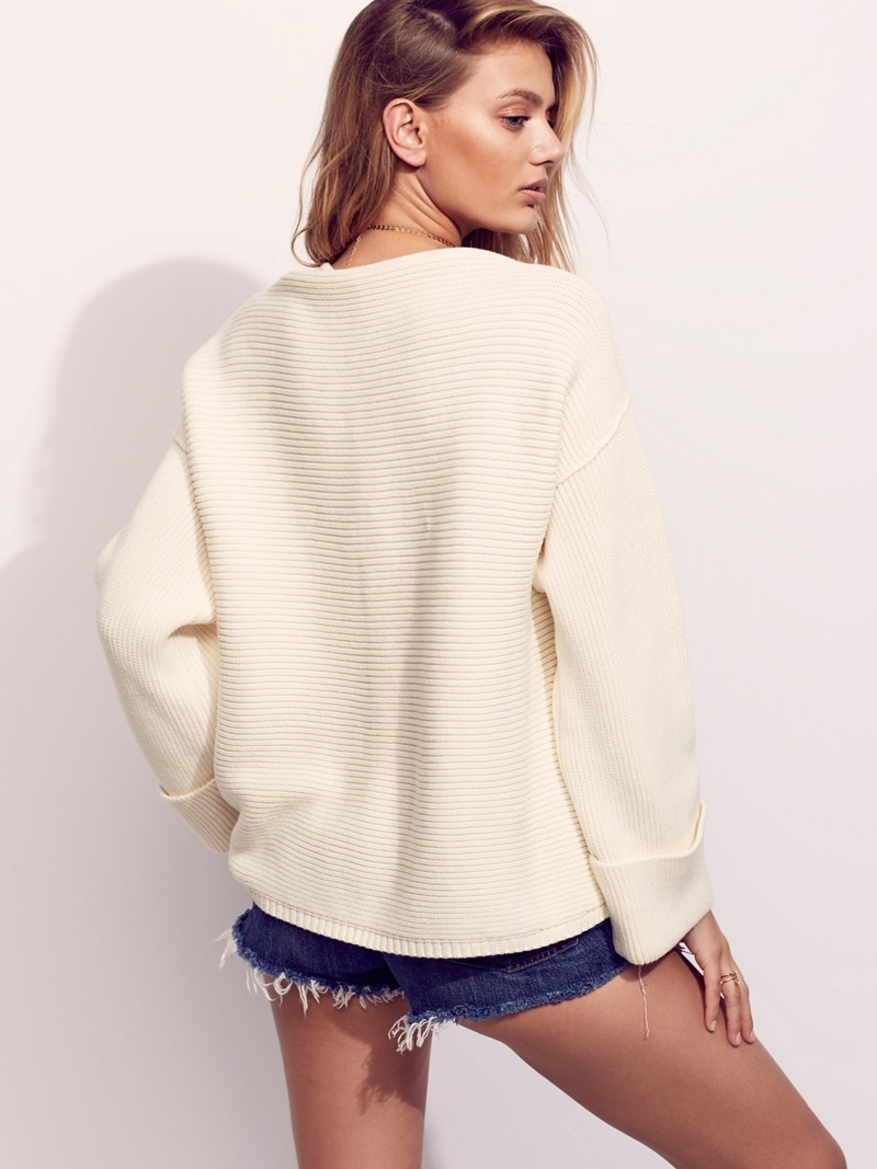 Take another look at Free People's La Brea V-Neck Sweater