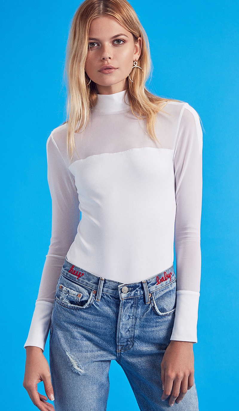 Kendall + Kylie High Neck Bodysuit and GRLFRND Karolina Custom High-Rise Skinny Jeans