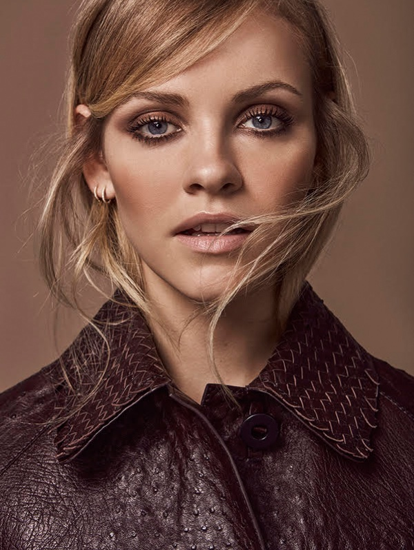 Photographed by Tomas de la Fuente, Ginta Lapina poses in new season looks