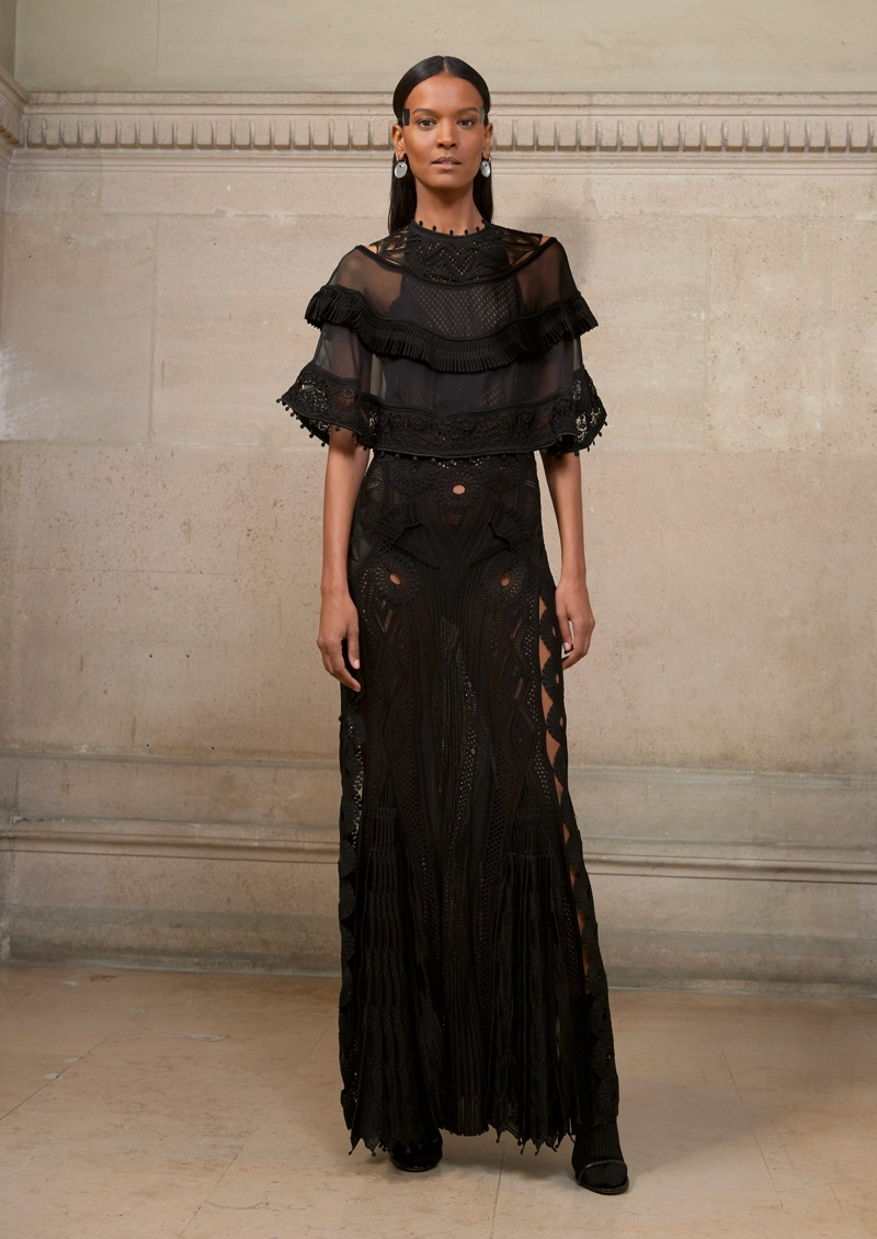 Liya Kebede wears black gown with cape from Givenchy Haute Couture's spring 2017 collection