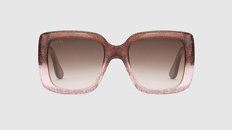 Gucci Square Frame Glitter in Brown/Pink Ombre