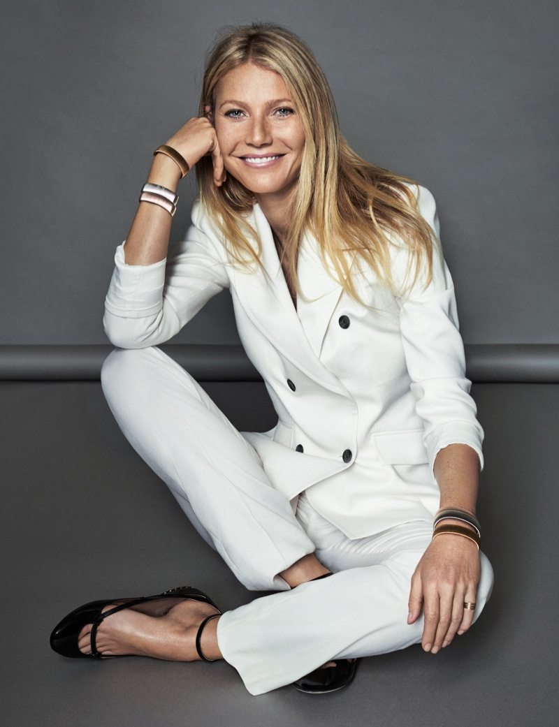 Suiting up, Gwyneth Paltrow wears Boss suit with Valentino ballerina flats