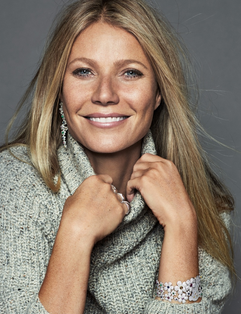 Gwyneth Paltrow wears Cavin Klein sweater with Tous jewelry