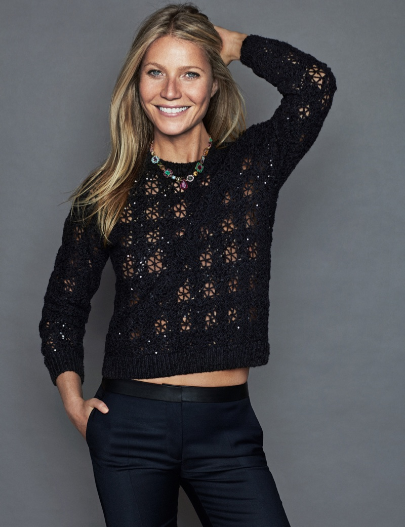 Gwyneth Paltrow poses in Brunello Cucinelli sweater, Claudie Pierlot jeans and Tous necklace