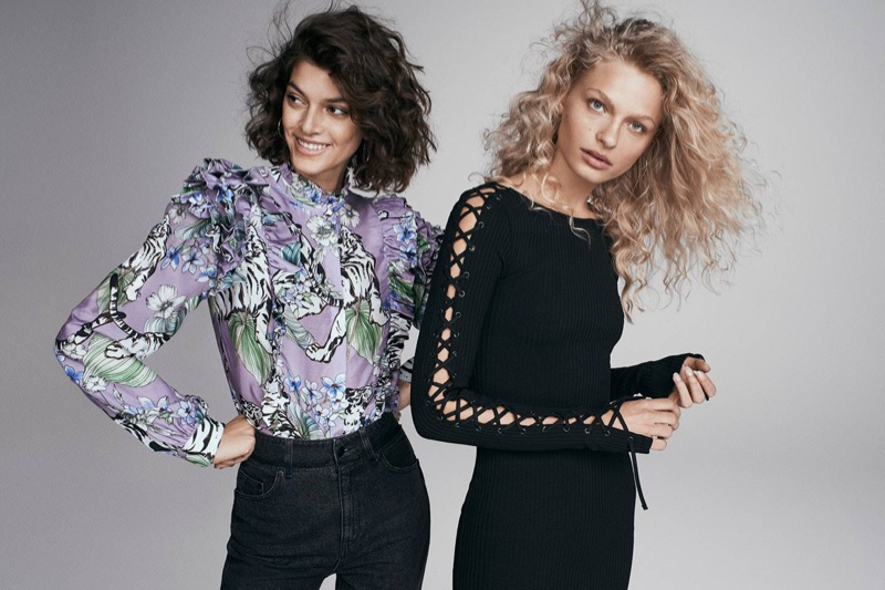 (Left) H&M Ruffled Blouse and High-Waist Jeans (Right) H&M Dress with Lacing
