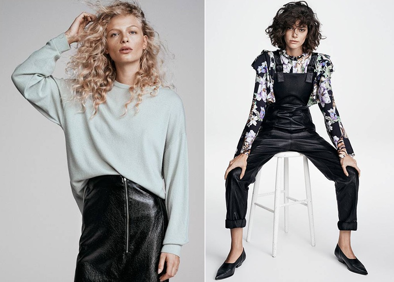 (Left) H&M Cashmere Sweater and Calf-Length Wrap Skirt (Right) H&M Bib Overalls, Patterned Ruffled Blouse and Black Pumps