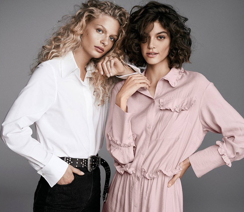 (Left) H&M Cotton Shirt and High-Waist Jeans (Right) H&M Shirt Dress with Ruffles and Studded Leather Belt